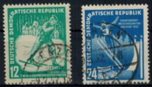 DDR 298-299 Wintersportmeisterschaften Oberhof 1952 sauberer Ortsstempel