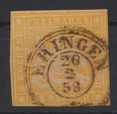 Altdeutschland Württemberg 7 a teils Nebenmarke Stempel K2 Eringen 26.2.1858