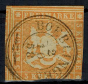Württemberg 7 a links Nebenmarke schöner Doppelkreis-St. Boeblingen 2.10.1858