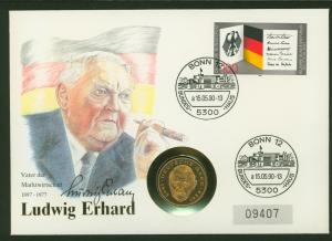 Bundesrepublik Numisbrief Ludwig Erhardt 1990 vergoldete 2DM-Münze