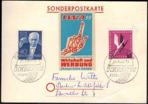 Bund Brief Sonderkarte Essen IWA 1955 Ausstellung Wirtschaft und Werbung