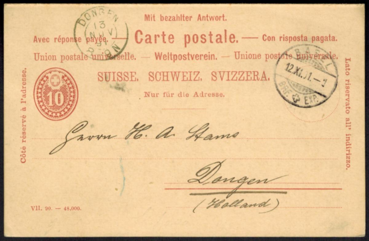Schweiz Ganzsache P 25 F/A Frage und Antwort von Basel n. Dongen 1891 0