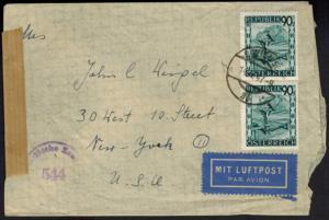 Österreich 766 MEF Zensurbrief mit Destination Wien New York USA 30.5.47