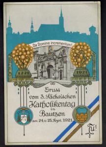Ansichtskarte Bautzen 3. Sächsischer Katholikentag Künstlerkarte sign. selten