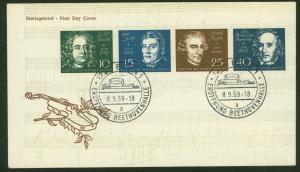Bund Brief BL V-Str. 1 Beethoven Zusammendruck auf FDC 8.9.59 Streifen selten