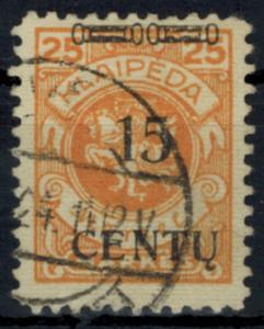 Memelgebiet 170 Aufdruckmarke 15 Centu auf 25 M gestempelt 1923