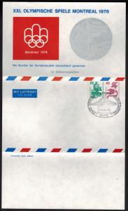 Privat Ganzsache Luftpost Faltbrief Olympia 1976  2 WST Unfall Leverkusen