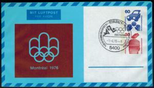 Privat Ganzsache 2 WST Unfall senkrecht 60+30 Pfg. Olympia 1976 SST Koblenz