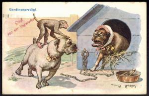 Ansichtskarte tolle Künstlerkarte Tiere Hunde Affen sign. Carl Moos Dresden 1927
