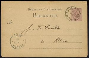 Deutsches Reich Ganzsache 5 Pfg. 3.5.1880 ab Rendsburg K1 nach Altona
