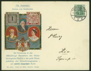 Deutsches Reich Privat-Ganzsache 100 J. Bestehen Grossherzogtums Baden Vignette
