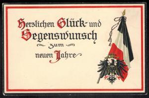 Ansichtskarte I. WK. Gold - Prägekarte Adler Brustschild Glückwunsch Neujahr
