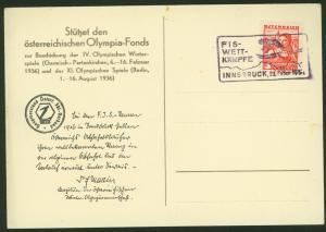 Österreich Sport Wintersport Sonderkarte Olympia selt. SST FIS-WETTKÄMPFE 1936