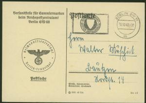 Deutsches Reich Berlin Postsache Karte der Versandstelle für Sammlermarken