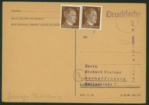 Deutsches Reich Postsache Postautomation Drucksache m. viol. L1 ...Aschaffenburg