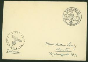 Deutsches Reich Postsache Brief SST Hamburg Die Post im Kriege Ausstellung 1940
