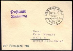 Reich Brief Postsache SST Berlin Charlottenburg Wassersportausstellung 1938