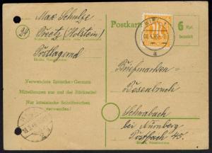 All. Besetzung Ganzsache P 783 ZUF 6 Pfg. AM-Post Stempel Kiel 4.1946