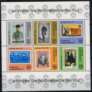 Türkei Block 19 100 Jahre Geburtstag von Atatürk 1981 tadellos postfrisch