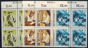 Berlin 342-345 Post + Telefonbetriebe Viererblock Oberrand mit Inschrift Berlin