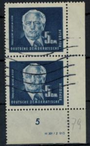 DDR 255 DV 5 DM Wilhelm Pieck 1950 Eckrand mit Druckvermerk Bogenecke gestempelt