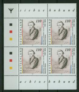 Bund 1962 Heinrich Heine mit Runen Bogenecke Eckrand Viererblock li. o.+u.