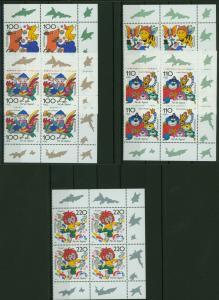 Bund 1990-94 Jugend Trickfilm Bogenecke Eckrand Viererblock re. o.+u. postfrisch