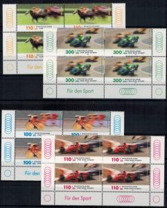 Bund 2031-34 Sporthilfe Rennsport Bogenecke Eckrand Viererblock u. re. + li.