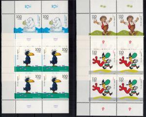 Bund 2055-9 Jugend Trickfilm Bogenecke Eckrand Viererblock li. o+u. postfrisch