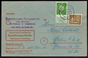 Berlin Brief MIF 151 + 183 aus Bogen selt. schöne Kombination auf Zustellurkunde