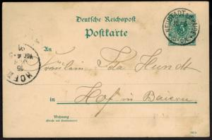 Deutsches Reich Ganzsache mit K1 Neustadt a.d. Halde 15.6.1891 nach Hof Bayern
