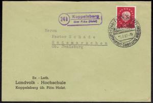 Bund Brief EF Landpoststempel Koppelsberg ü. Plön Schleswig-H. n. Hademarschen