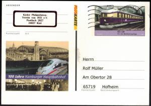 Bund Ganzsache Hamburger Hafen Eisenbahn mit Zudruck Kiel Sammlerverein