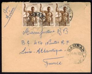 Zentralafrikanischen Republik Bambari MEF 5 Fr. Luftpost nach Frankreich 1957