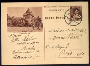 Rumänien Ganzsache Abb. Post Arad 1932 nach Paris Frankreich