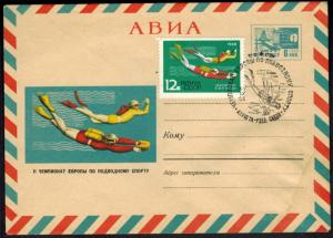 Rußland Sowjetunion Bild-Ganzsache mit ZuF Wassersport Tauchen mit SST 1966