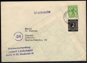 SBZ Berlin All. Besetzung MIF nachträglich Lübeck entwertet rs. Maschinenstempel