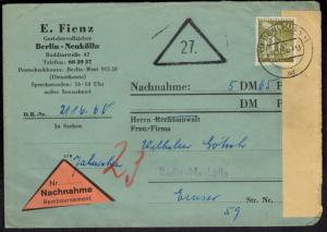 Berlin Nachnahme-Brief EF 150 Stadtbilder Neukölln 18.12.1960