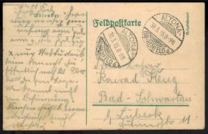 Deutsches Reich Feldpostkarte I. WK Altona-Bahrenfeld Schleswig n. Bad Schwartau