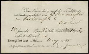 Posteinlieferungsschein Kiel Frachtpost nach Berlin Schleswig-Holstein 10.8.1865