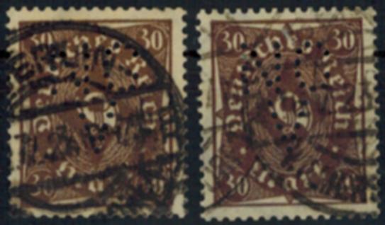 Deutsches Reich 231a + b sauber gestempelt geprüft INFLA mit Firmenlochung 0