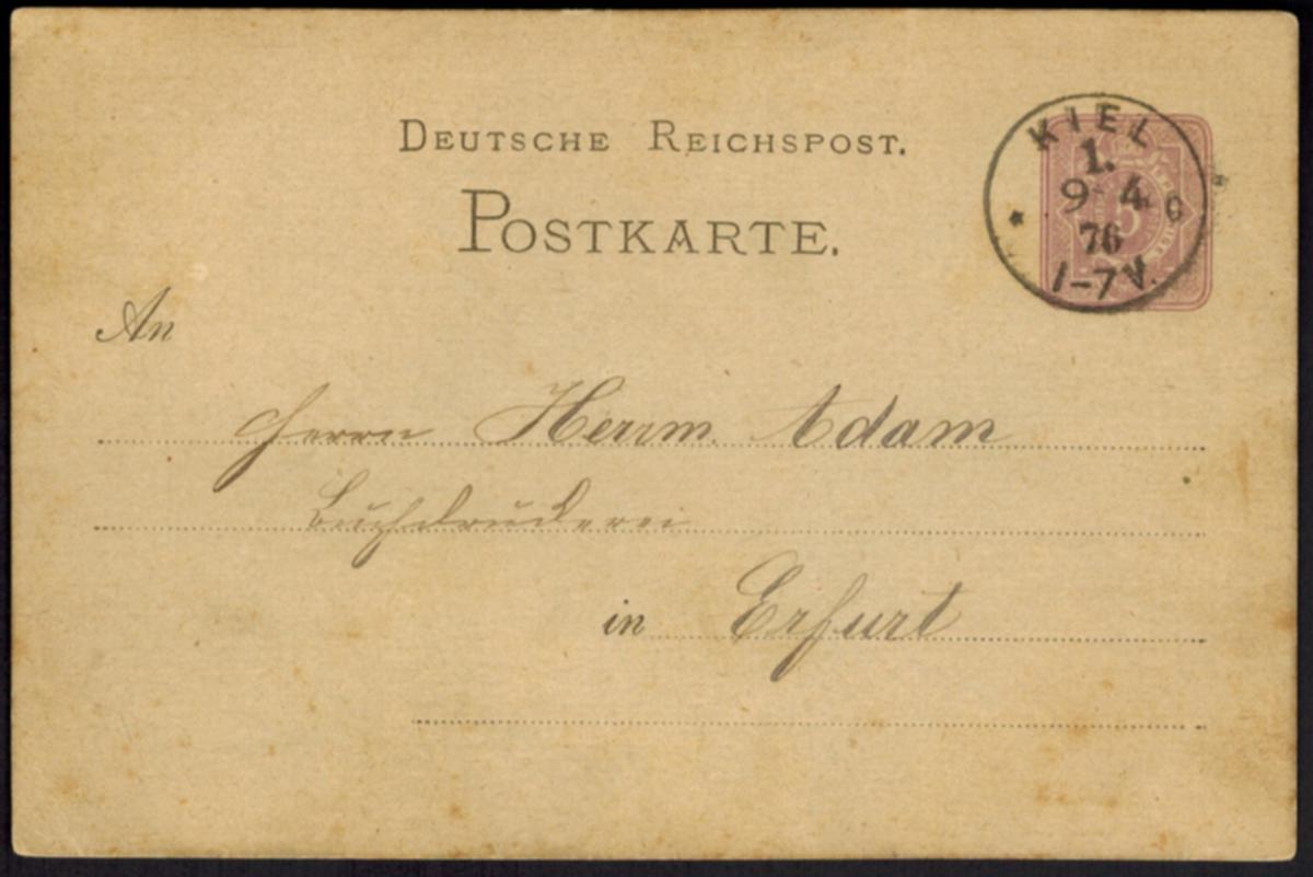 Deutsches Reich Ganzsache P 5 I mit K1 KIEL 1 9.4.1876 nach Erfurt 0