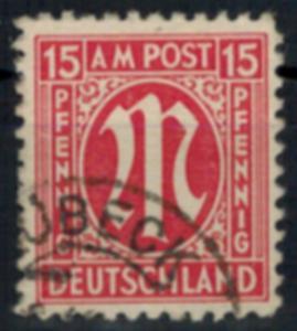 Bizone 8 AM-Post amerikanischer Druck 15 Pfg gestempelt Plattenfehler VII