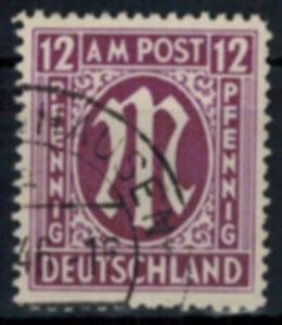 Bizone 15 AM-Post britischer Druck 12 Pfg gestempelt Plattenfehler IV