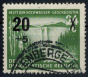 DDR 449 Hilfe für Hochwassergeschädigte mit Plattenfehler III 1955 gestempelt