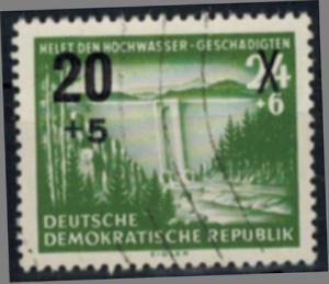 DDR 449 Hilfe für Hochwassergeschädigte mit Plattenfehler IV 1955 gestempelt