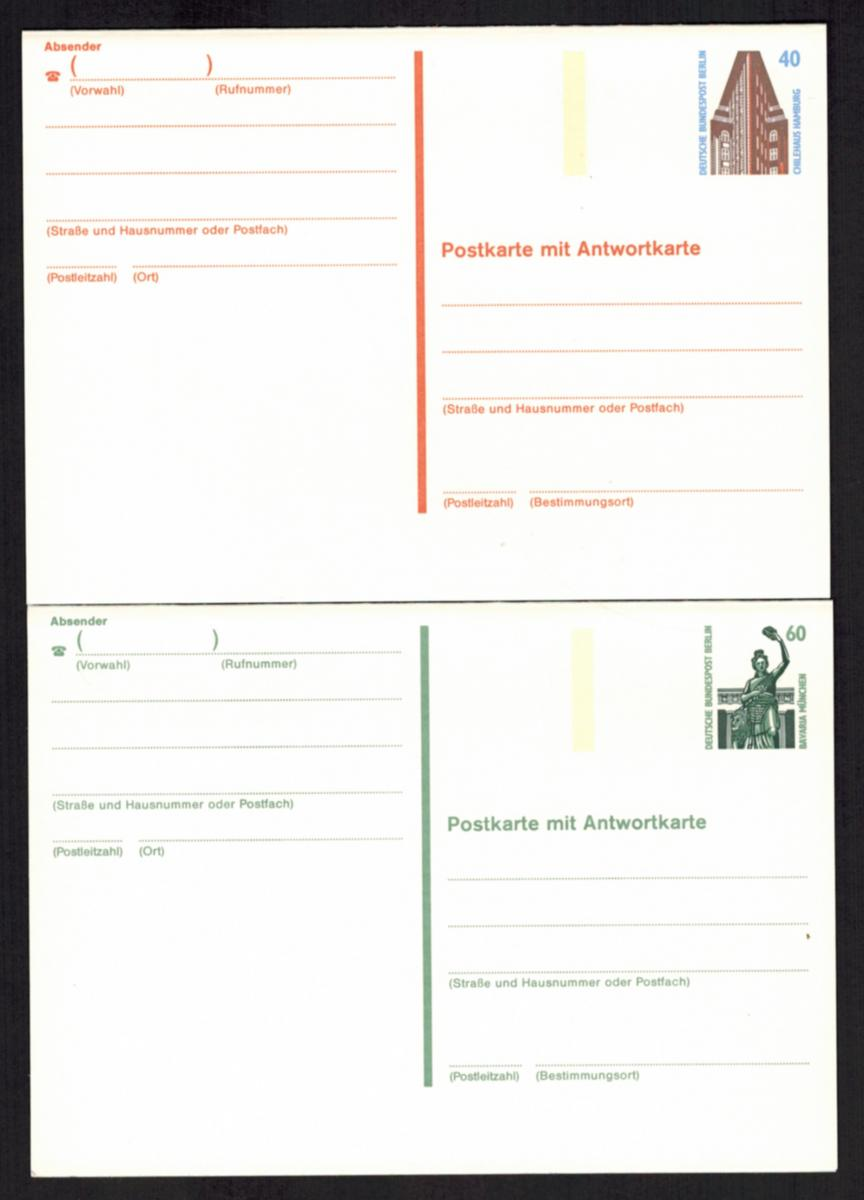 Berlin Ganzsache P 137 F/A + 138 F/A 40 + 60 Pfg. SWK Frage/Antwort ungebraucht 0