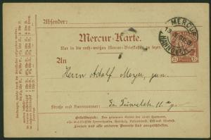 Stadtpost Privatpost Hannover Mercur Ganzsache P 13 a Stadtwappen Kirche 1896