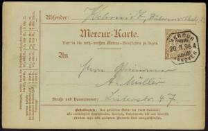 Stadtpost Privatpost Hannover Mercur Ganzsache P 13 b Stadtwappen Kirche 1896