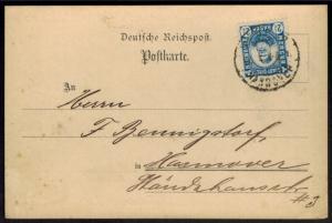 Stadtpost Privatpost Hannover Mercur EF 10 mit Zudruck Hessel Farbenwerke 1895